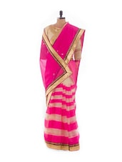 Pink And Gold Striped Saree With Blouse Piece - Royal Ji