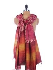 Vibrant Maroon And Orange  Printed Silk Dupatta - Dupatta Bazaar