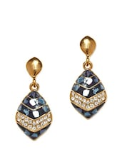 Gold Plated, Teal Blue Drop Earrings With Crystal Embellishments - Golden Peacock