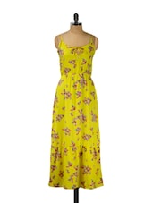 Yellow Floral Printed Maxi Dress - Thegudlook