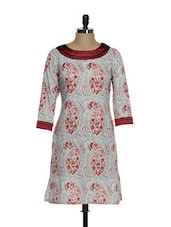 Cream And Red Paisely Print Full-sleeved Kurta - Overdrive