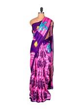 Purple And Pink Printed Saree - Saraswati