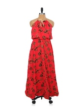 Rose Print Red Maxi Dress - EVogue.Me