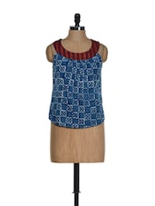 Indigo Blue Block Print Cotton Top With A Maroon Neck - 9rasa