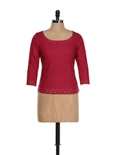 Fuchsia Pink Full Sleeved Traditional Top With Block Prints And Dori At The Neck - 9rasa