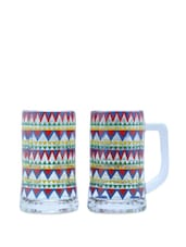 Zig-Zag Chakra Beer Mugs Set Of 2 - The Elephant Company