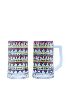 Zig-Zag Chakra Beer Mugs Set Of 2 - The Elephant Company