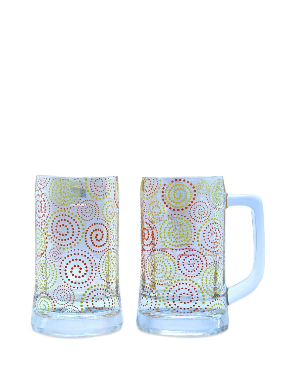 Polka Paisley Beer Mugs Set Of 2 - The Elephant Company