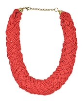 Red Seed Bead Interwoven Necklace - VR Designers