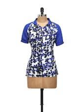 Blue Half Sleeved Top With White And Black Prints - L'elegantae
