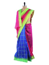 Amazing Pink And Blue Colour Blocked Saree With Blouse Piece - ROOP KASHISH