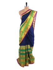 Gorgeous Blue And Green Saree With Blouse Piece - ROOP KASHISH
