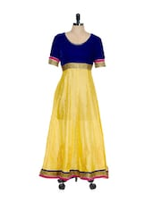Yellow And Blue Embroidered Anarkali - Go Lucknow