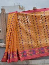 Leaf Print Cotton Banaras Saree - BANARASI STYLE