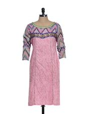 Light Pink Printed Full-sleeved Cotton Kurta With Zari Embroidery In The Front - STRI