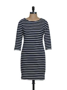 Navy Blue And White Striped Full-sleeved Dress - KAXIAA