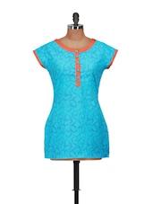 Round Neck Turquoise Printed Tunic - Jajv