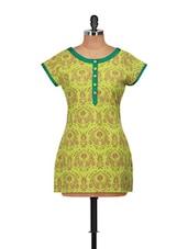 Round Neck Ethnic Printed Green Tunic - Jajv