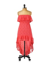 Asymmetrical Strapless Red Lacy Dress - Ruby