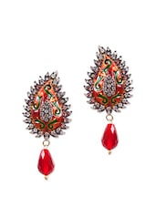 Exclusive Red Drop Earrings With Enamel And American Diamond - Rajwada Arts