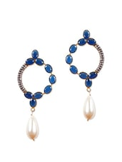 Fancy Earrings With Blue Stones And American Diamonds - Rajwada Arts