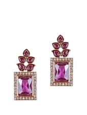 Purple Stone Embellished Earrings - Rajwada Arts
