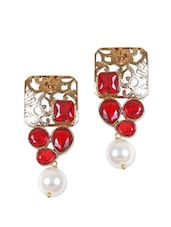 Fancy Gold Earrings With Red Stone And Pearl - Rajwada Arts