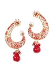 Gold Ethnic Earrings With Red Stone And Pinkish Enamel - Rajwada Arts