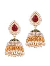 Green And Red Studded Traditional Jhumkis - Rajwada Arts