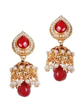 Red And Gold Jhumkis With Red Stones - Rajwada Arts