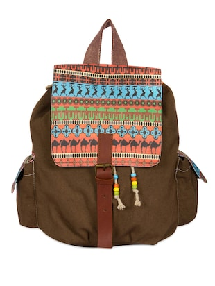 Tribal print cotton canvas backpack