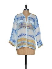 White And Blue Stylish Full-sleeved Top With Digital Prints - Toscee