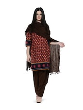 Brown Crushed Dupatta With Tassels - ETHNIC