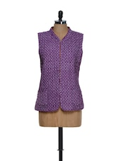 Reversible Cotton Jacket In Purple And Rust - Feyona