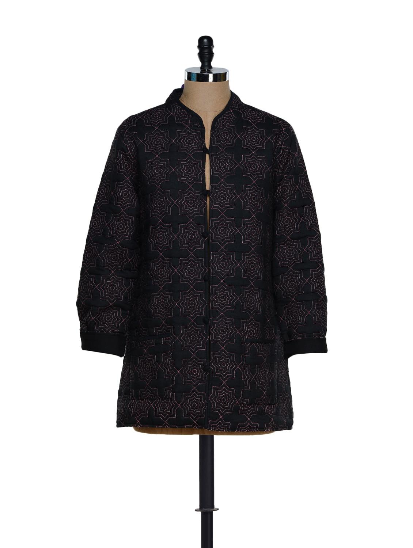 Polyester Lined Black Cotton Jacket - Feyona