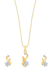 Hook Lock With Star Gold And Rhodium Plated Pendant Set With Earrings - VK Jewels
