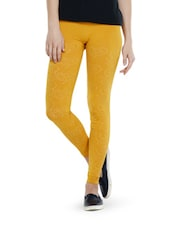 Swirl Pattern Mustard Seamless Leggings - TSG Breeze Treat