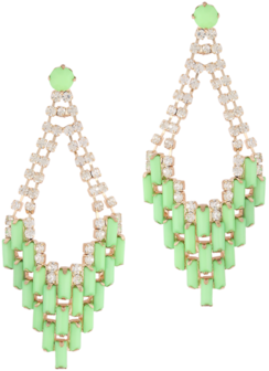 Elite Green Stones and Crystal Studded Chandelier Earrings