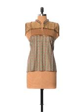 Zari Work Brown Cotton Top - Little India