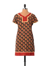 Printed Black Cotton Kurti - Little India