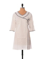 Silver Buti White Cotton Long Kurti - Little India