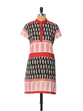 Printed Black And White Kurti - Little India