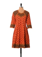 Orange And Black Rajasthani Print Kurti - Little India