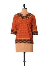 Printed Rust Cotton Top - Little India