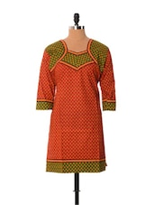 Rust And Sap Green Printed Kurti - Little India