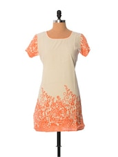 Cream And Orange Printed Kurti - Little India