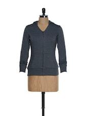 V-neck Front Zipper Charcoal Grey Hooded Jacket - Femella