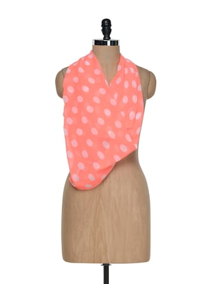 Neon Pink Polka Dotted Scarf