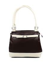 Chic Brown Leather Handbag With Lovely Cream Straps - Borsavela