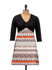 Trendy Casual Dress With A Black Top And Multi-coloured Printed Base - AKYRA